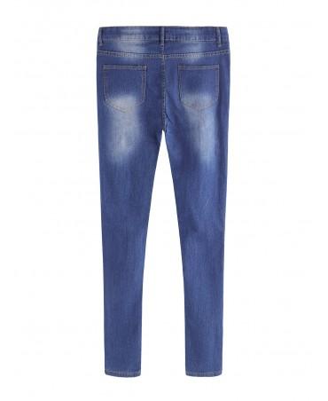 Stylish dark blue mid-waist ripped details stylish jeans