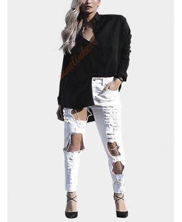 White boyfriend denim high-waisted floral jeans
