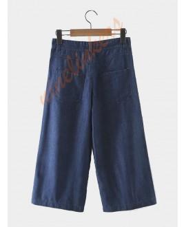 Fashionable wide-leg pants, 3/4 long