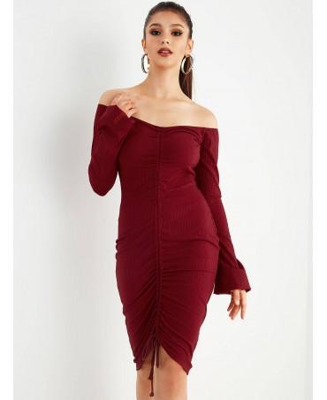 Strapless Burgundy knit dress