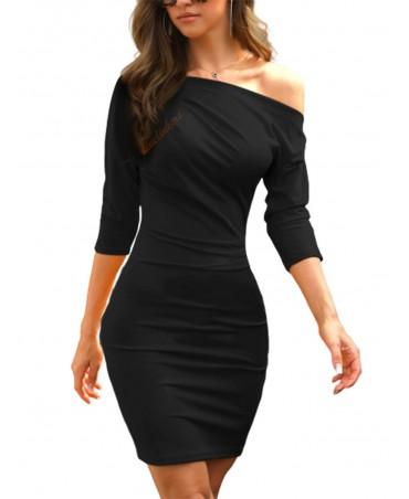 Black one-shoulder, half-sleeve, ultra-soft dress