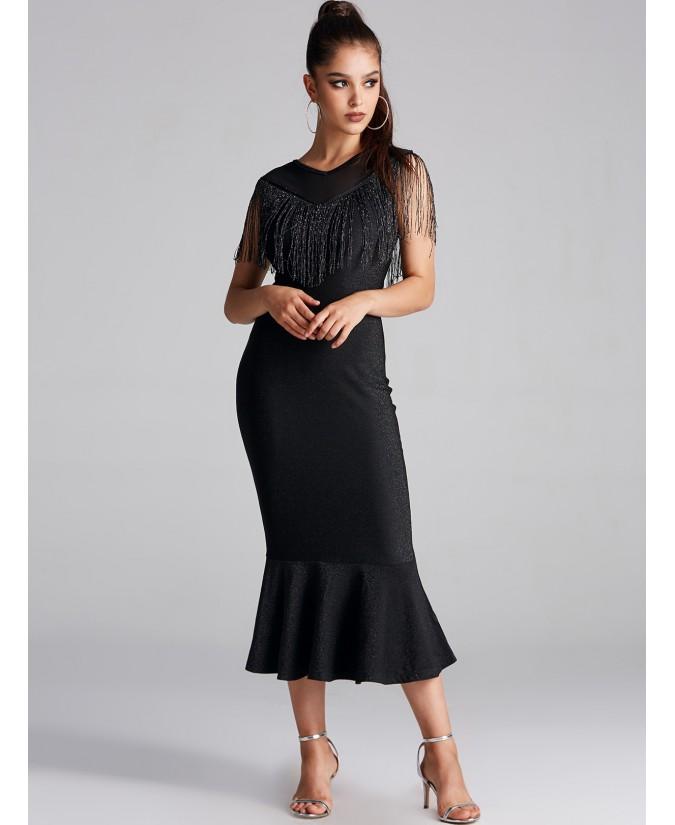Sleeveless fishtail skirt with black mesh stitching fringe detail