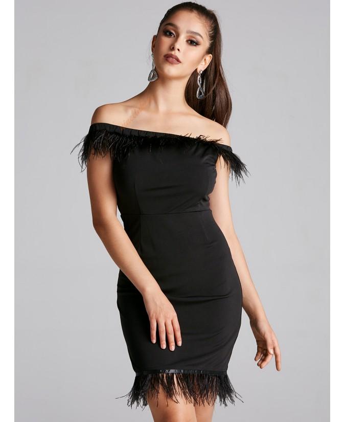 Black feathered sleeveless dress