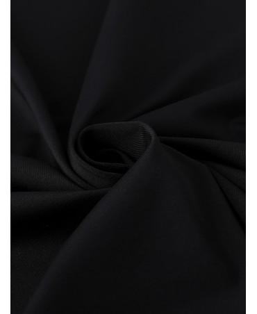Black casual tight round neck hollow mini