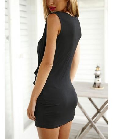 Black cross front design drape deep v neck sleeveless sexy dress