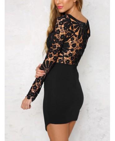 Black lace mini with irregular hem and long sleeves