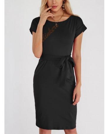 Black lace design plain round neck short-sleeved high-waisted skirt