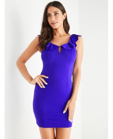 Royal blue v-neck sleeveless hem design dress