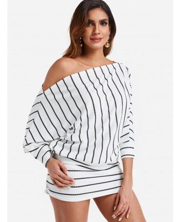 Off-shoulder white striped dolman sleeve dress