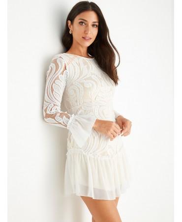White crocheted lace ruffled dress