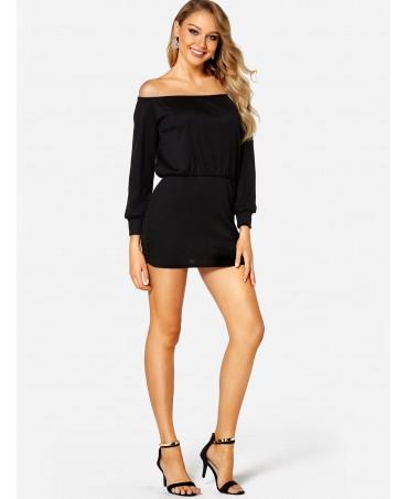 Black strapless long-sleeved high-waisted dress