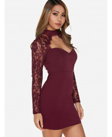 Sexy Burgundy lace sleeveless mini with round neck